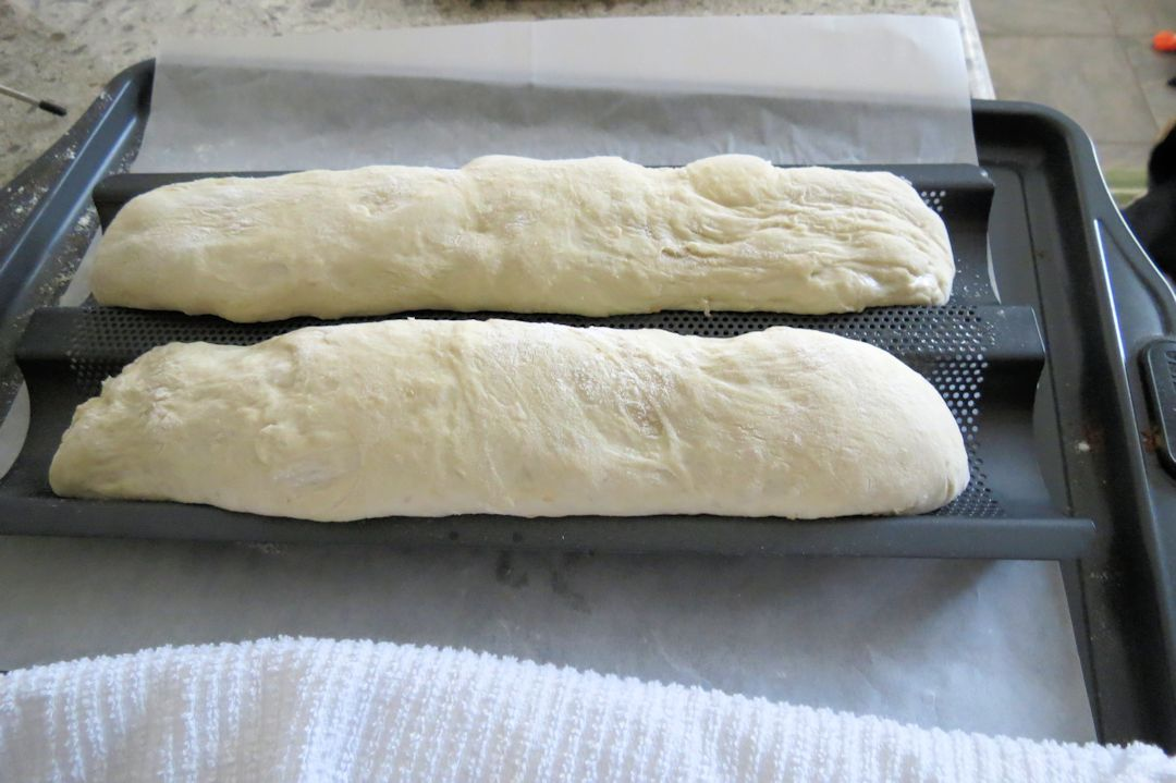 French bread ready to bake