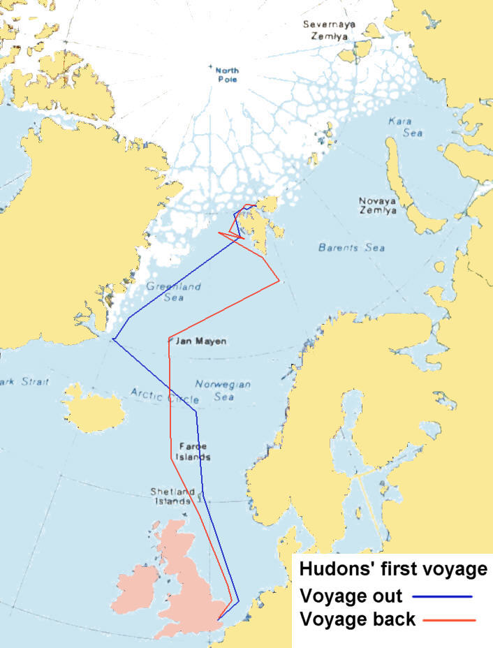 map of henry hudson s first voyage 1607 the north passage