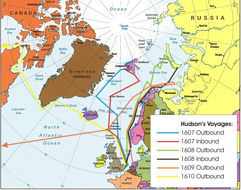 Henry Hudson Map Maps of Henry Hudson's Four Voyages, 1607 1611 Henry Hudson Map